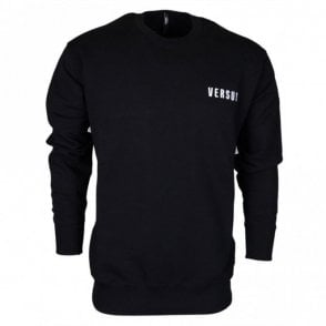 BU90535 BJ20643 Round Neck Stitched Logo Black Sweat