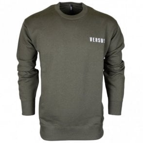 BU90535 BJ20643 Round Neck Stitched Logo Green Sweat