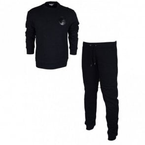 Cotton Round Neck Black Tracksuit