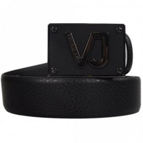D8YRBF04 Plain Black VJ Buckle Leather Belt