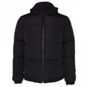 Jeans Nylon Hooded Black Jacket