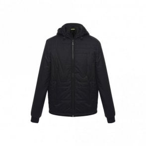 Jeans Poly Twill Hooded Black Jacket