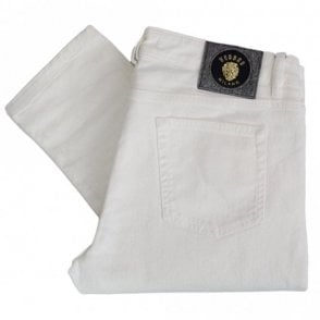Slim Fit Gold Badge White Jeans