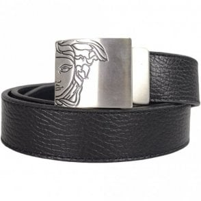 V910196 Plain Black Silver Buckle Leather Belt