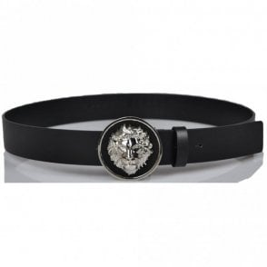 Versus FCU0076 Lion Black Silver Buckle Leather Belt