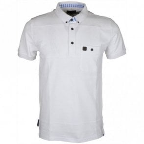 Bowler Pique Pocket White Polo