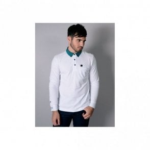 Vince Pique Long Sleeve White Polo
