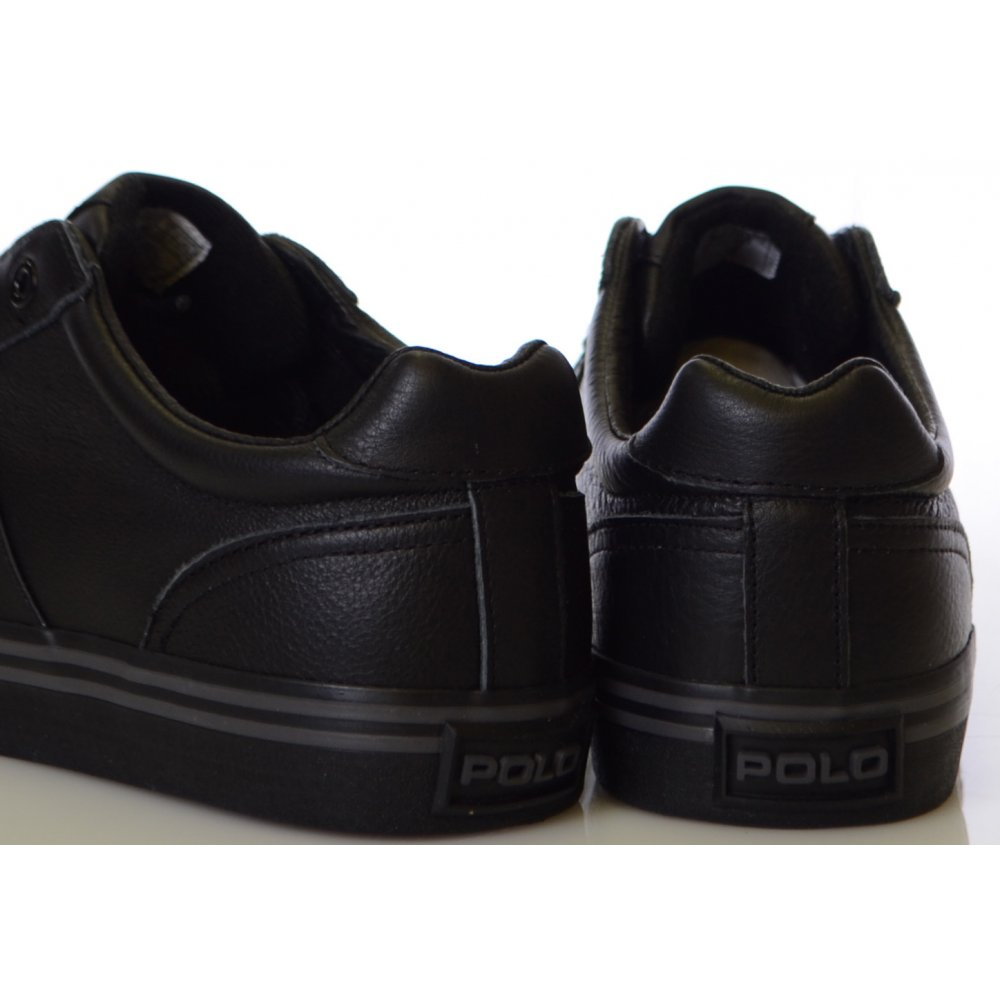 7637907beeb8 Ralph Lauren Shoes Black Hanford Tumbled Leather Trainer - Footwear ...