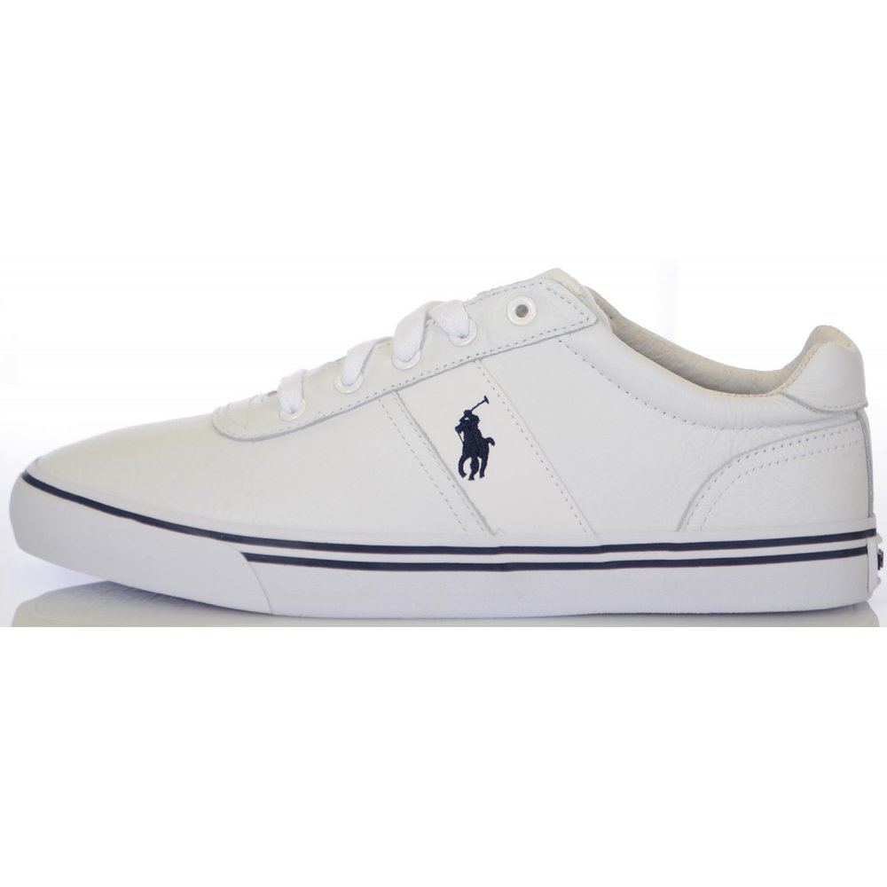 7b055af227fb Ralph Lauren Shoes White Hanford Tumbled Leather Trainer - Footwear ...