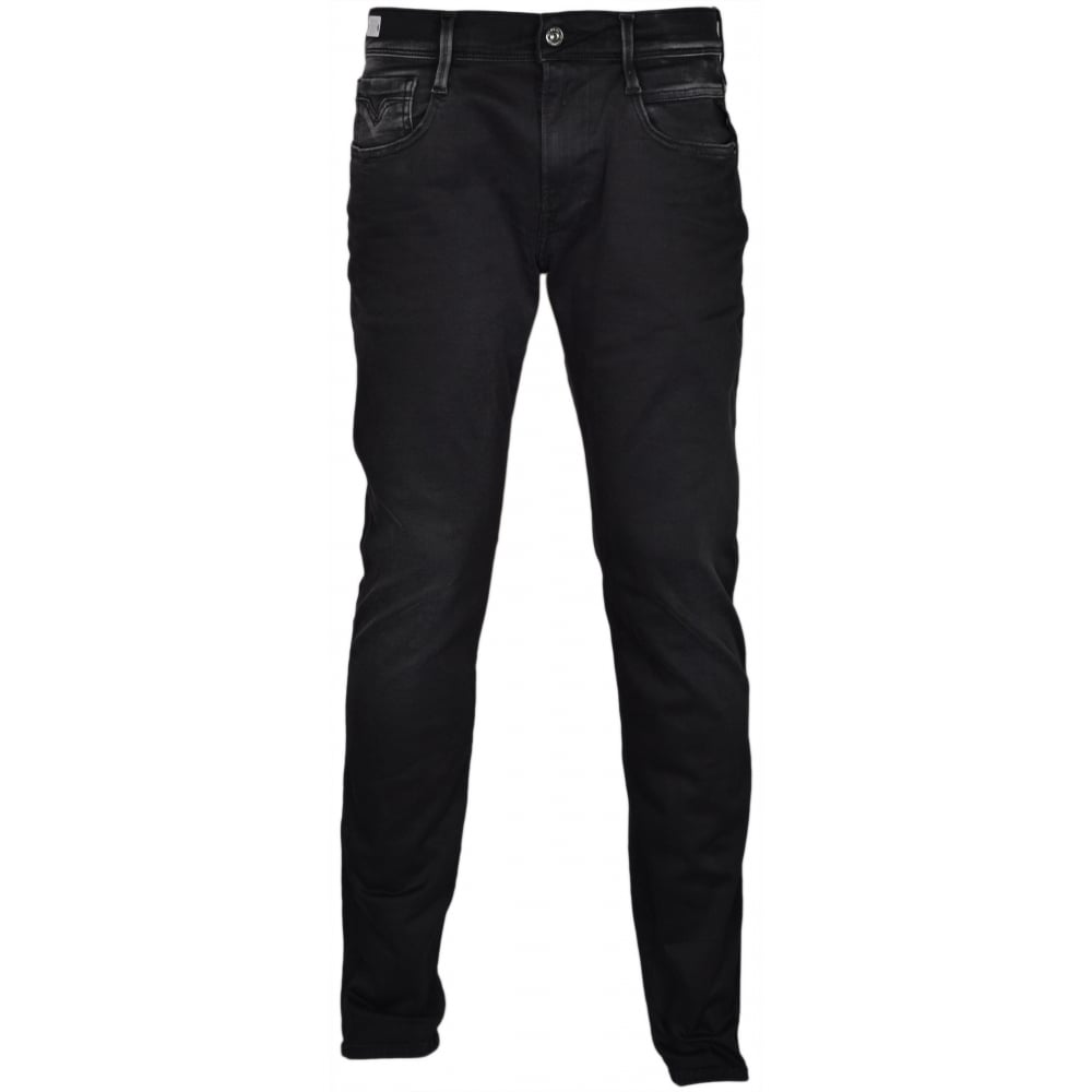 Replay Hyperflex Anbass Stretch Faded Black Jeans