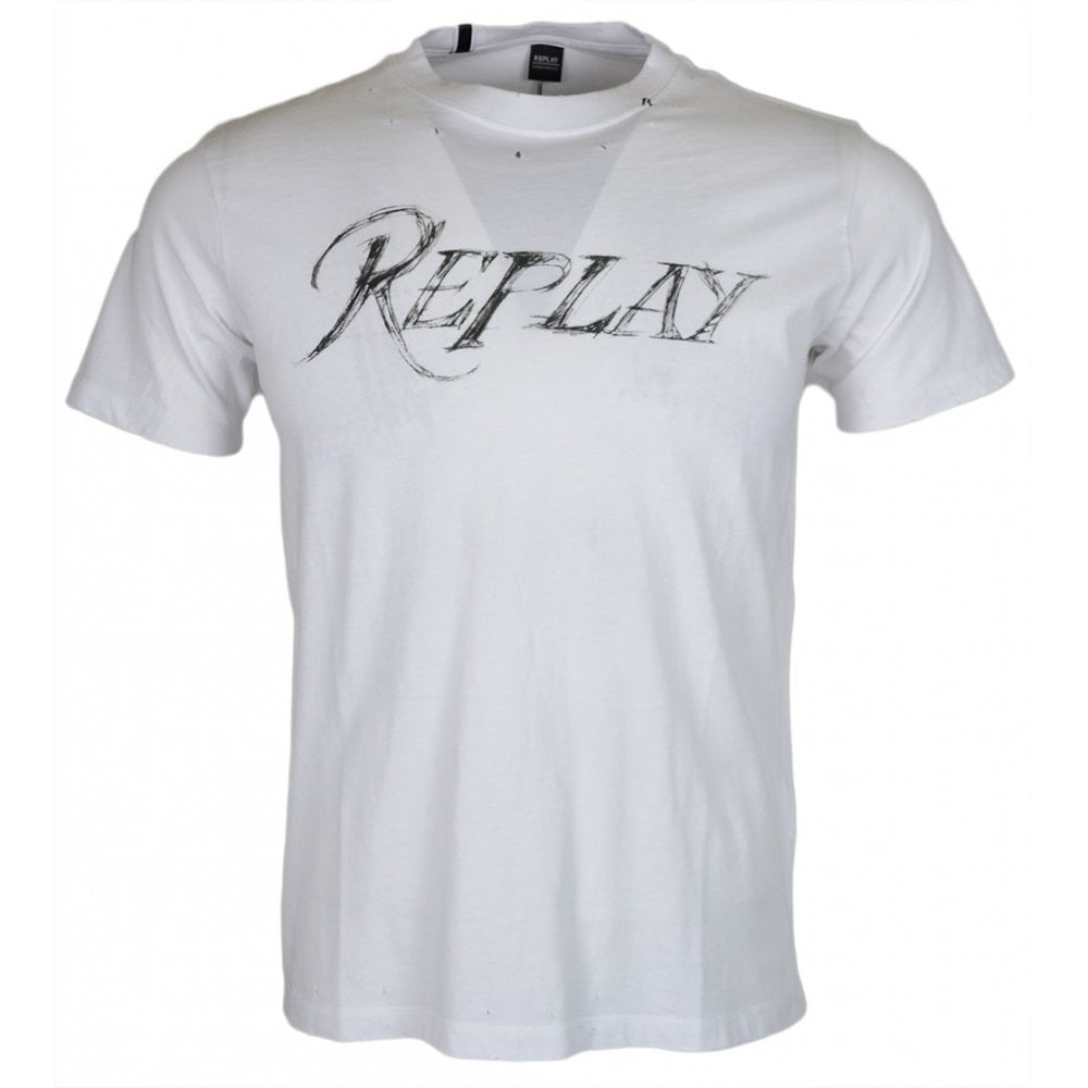 Replay Slim Fit Round Neck Ripped Up White T-Shirt