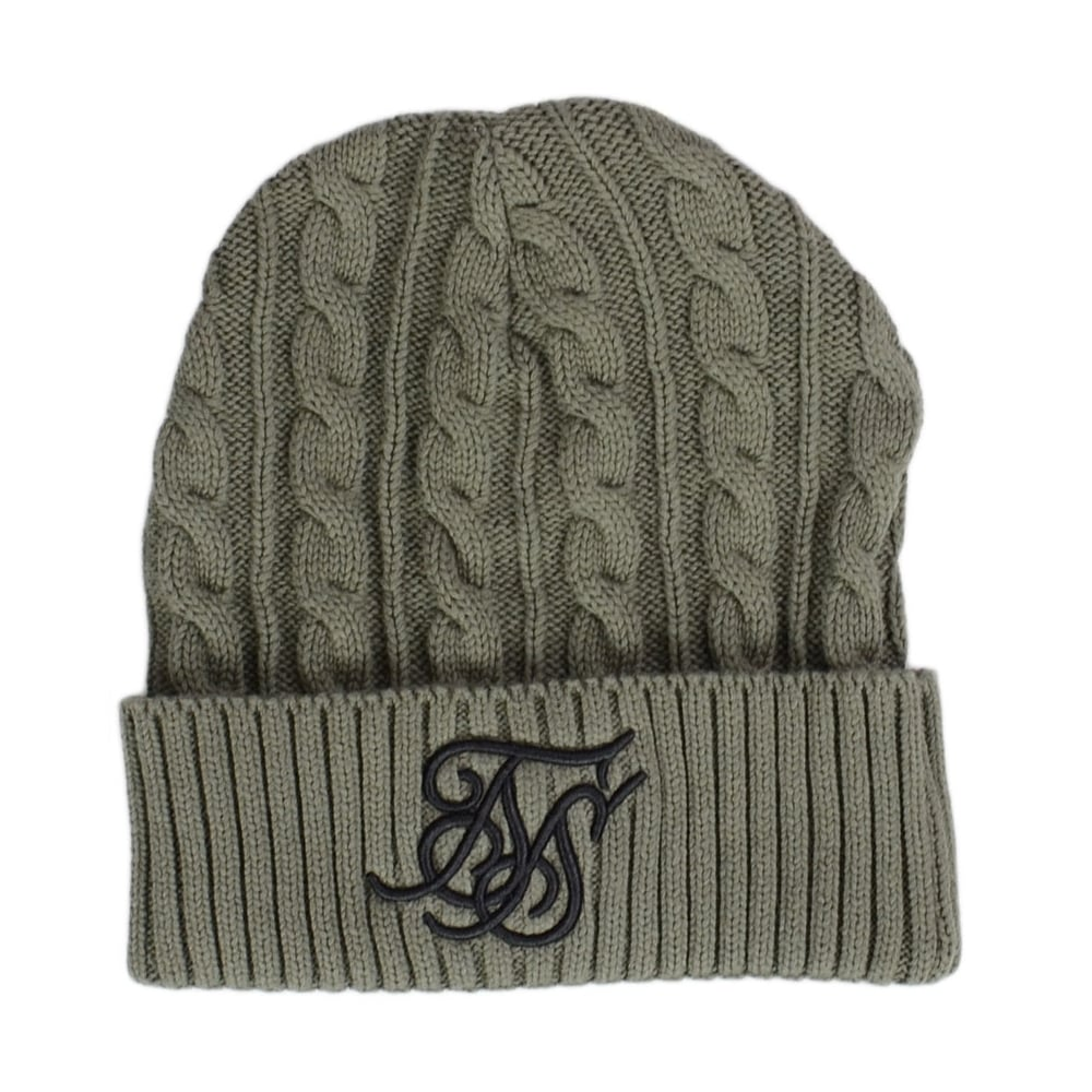 d935c615c45 Sik Silk Cable Knit Khaki Beanie - Accessories from N22 Menswear UK