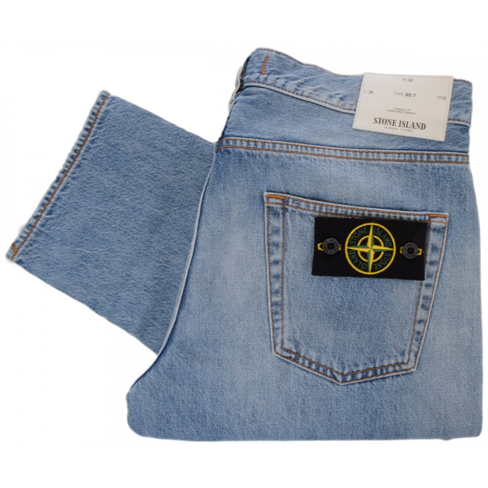 63f1c43f Stone Island Vime Regular Tapered Light Wash Jeans - Clothing from ...