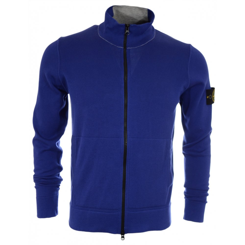 Stone Island Zipped Cotton Blue Jumper Clothing From N22