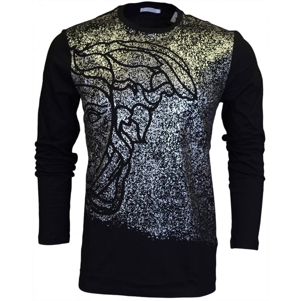 3ba9c0b7 Versace Collection V800683 Silver Shine Long Sleeve Black T-Shirt ...