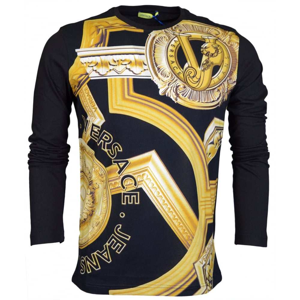 66fe4609 Versace Jeans Cottom Long Sleeve Slim Fit T-Shirt