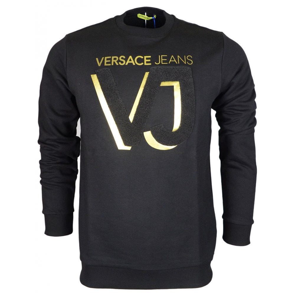fd5bd599 Versace Jeans Felpa Cotton Round Neck Black/Gold Sweatshirt