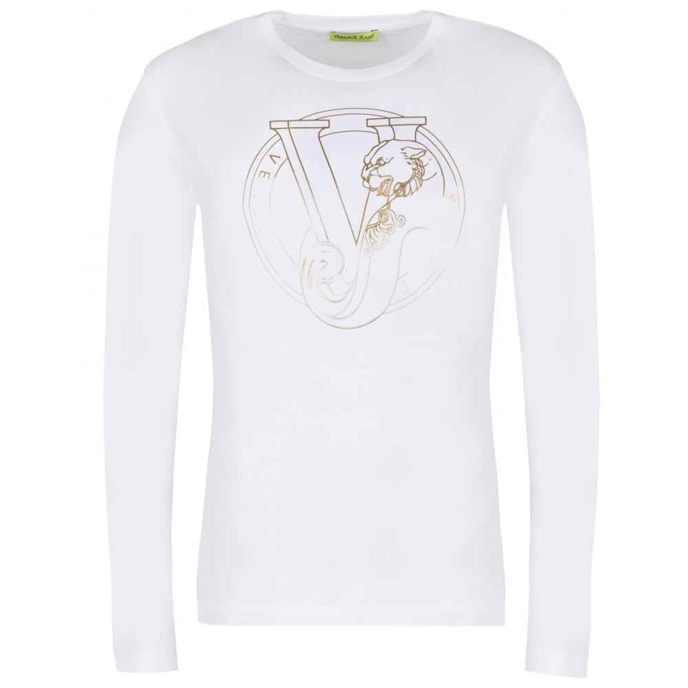 c8d3b23b Versace Jeans Jersey Cotton Long Sleeve White T-Shirt - Clothing ...