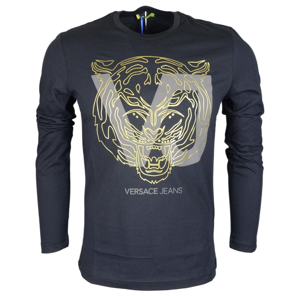 67d8c61bc69 Versace Jeans Luna Slim Fit Printed Logo Black Long Sleeve T-Shirt ...