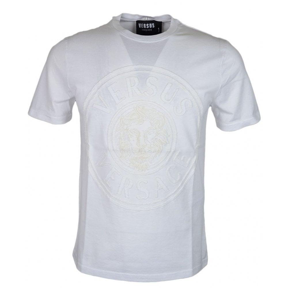 fdc2436e3a Versace Round Neck Slim Fit Stitched Logo White T-Shirt
